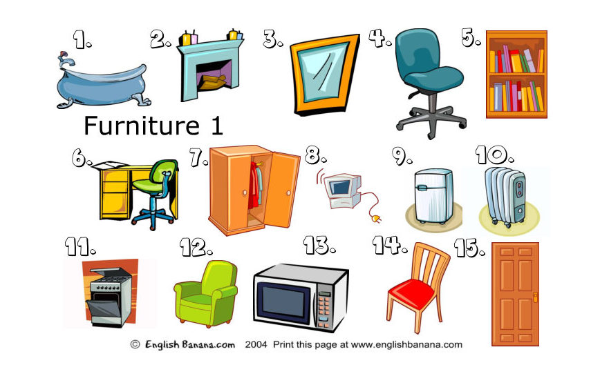 Efl At L Alzina 2nd Eso Furniture Vocabulary