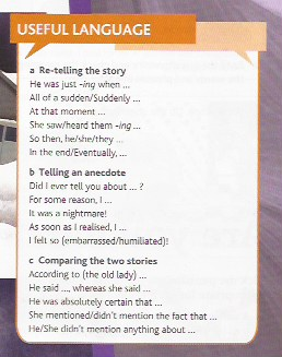 USEFUL LANGUAGE FOR TELLING STORIES